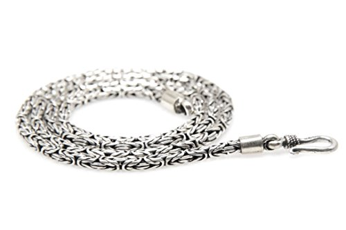 - 925 Sterling Silver Byzantine Chain Necklace Handmade in Bali 2.5 mm (18)