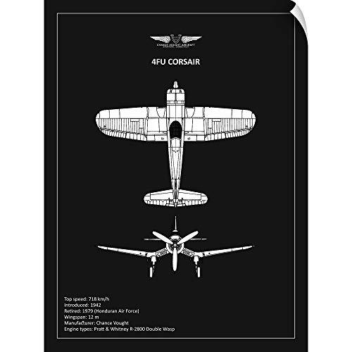 (CANVAS ON DEMAND BP CV F4U-Corsair Black Wall Peel Art Print, 27