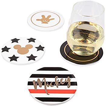 Disney Mickey Mouse Coasters, Set of 4 - Gold Pinache Mickey Designs - Ceramic with Cork Backing - 4