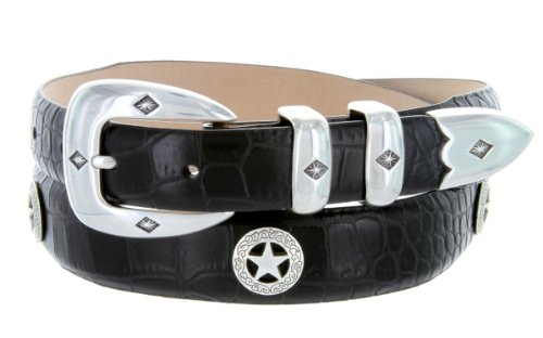 Presidential Silver Star Western Golf Concho Italian Calfskin Leather Dress Belt (34 Alligator Black) (Buckle Black Calfskin Belt)