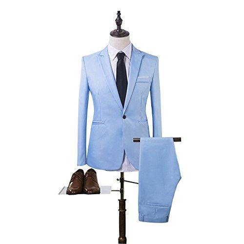 ILUCI Men's Slim Fit 2 Piece One Button Suit Blazer & Trousers Bussiness Weeding Suit (XXL, Sky Blue) by ILUCI