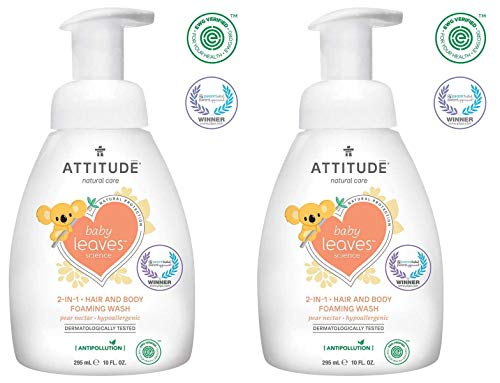 (ATTITUDE Baby Leaves 2-in-1 Hair and Body Foaming Wash (Pack of 2) With Blueberry Leaf Extract, Moringa Oleifera, Sweet Fruit and Pear, 10 oz. each)