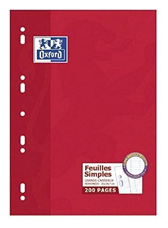 Oxford Bloc de Feuillets Mobiles Perfor/és A4 200 Pages Sey/ès Blanc