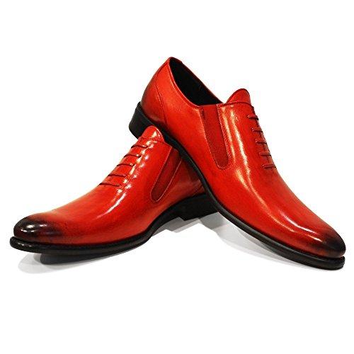 Vacchetta Pelle su in Scivolare Blodo da Italiano Handmade Verniciata Modello Slip Mano Pelle a PeppeShoes Mocassini Uomo e On Rosso 6YwHOqq