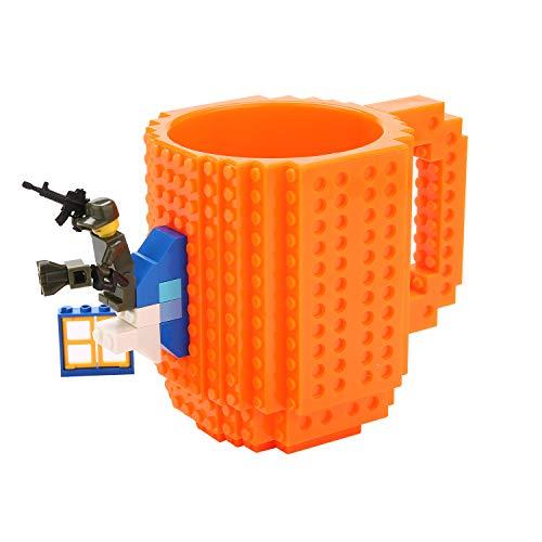 Brick Mug -Fubarbar Funny Build on Brick Coffe Mugs with Legos Novelty 12 oz Tea Time Beverage Cup Puzzle Boys Mug Building Bricks enjoy Creative DIY Building Blocks Office Pen Cups (Orange)]()