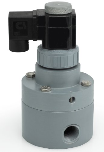 Plast-O-Matic PS Series PVC Pilot Solenoid Valve, For Acids and Highly Corrosive Liquids, 2 Ways, Normally Closed, EPDM Diaphragm, 35 Cv factor, 2'' NPT Female by Plast-O-Matic