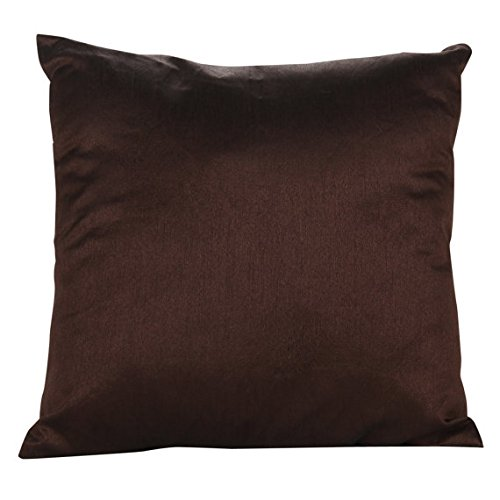 Set of 2 Dark Brown Art Silk Pillow Covers, Plain Silk Cushion Cover, Solid Color Dark Brown Thr ...