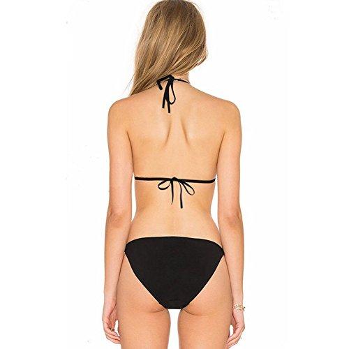 Erica Mujeres Halter Bikinis Floral Emboridery Turtleneck Dos Pieces Set Swimsuit Wireless Padded Bra Negro Black