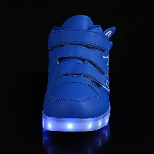 SAGUARO Jungen Mädchen Turnschuhe USB Lade Flashing Schuhe Kinder LED Leuchtende Schuhe Blau-1