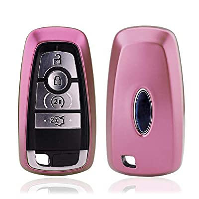ontto for Ford Key Fob Case Shell Key Holder Rings Keychains Premium Soft TPU Full Protection Fit for 2020 Ford Fusion F250 F350 F450 F550 2020 Edge Explorer Pink: Automotive