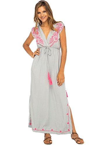Back From Bali Womens Long Maxi Dress Boho Embroidered Sleeveless Summer Sundress Deep V Neck Grey L/XL - Embroidered Maxi