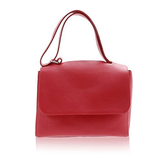 Bolso de Mano para Mujer Made in Florence Piel Genuina 30*22*14 cm Rojo