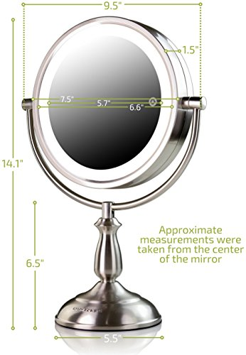 Ovente 7.5'' Lighted Tabletop Mirror, SmartTouch Cool, Warm, Daylight LED Tones (1X5X, Brushed) by Ovente (Image #5)
