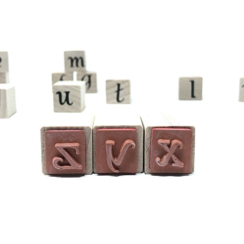 Alphabet Letters Rubber Stamp Kit Lower Case for Kids and Adults w/Positioner Set by Creative Stamps