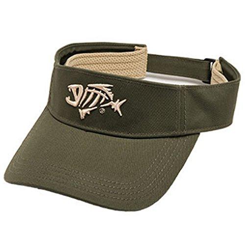 G Loomis Skeleton Fish Logo Anti Glare Cotton Twill Velcro Strap Visor - Green