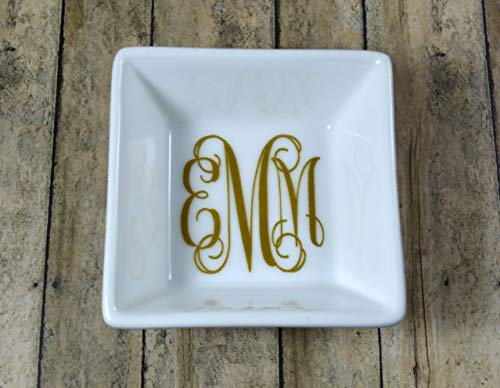 (Monogram Jewelry Dish, Ring Dish - Solid and Glitter Color Options, Bridesmaid Gift, Gift for)