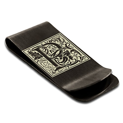 Holder Clip Monogram Letter P Tioneer Steel Credit Initial Floral Black Engraved Money Stainless Card U7wHnqZ