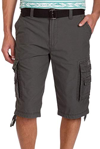 Unionbay Men's Cordova Belted Messenger Cargo Short - Reg and Big and Tall Sizes, flint, 46