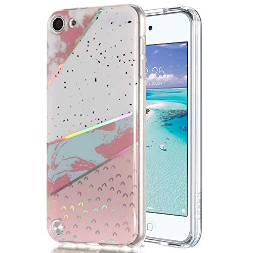 Ranyi iPod Touch 6 Case, iPod Touch 5 Case, Shiny Glitter Laser Marble Pattern Soft Clear TPU Bumper Slim Thin Flexible Shock Absorbing Rubber Case for Apple iPod Touch 5 6th Generation (Colors)