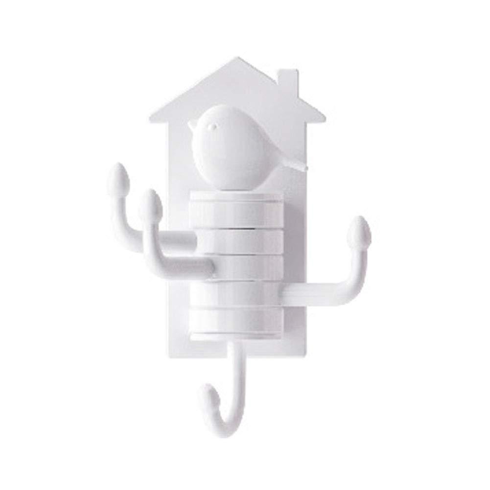 Ndier Crochet Rotatif Vertical pour Oiseaux Crochet adhésif imperméable et Solide Crochet Multifonctionnel pour Porte, Garde-Robe, Cuisine, Salle de Bain, Salon-Blanc