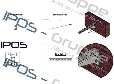 IPOS Kabelrinne Kabelkanal Zubeh/ör Kabeltrasse Verzinkt Metallkanal Kabelpritsche Wandausleger 110 mm