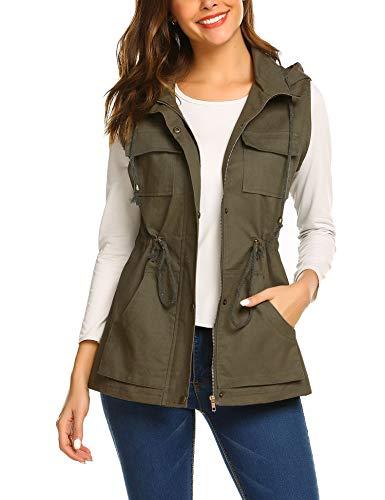 (Beyove Womens Lightweight Sleeveless Military Anorak Vest)