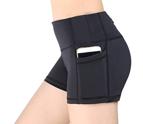 Women's Active Fitness Yoga Running Exercise Workout Shorts With Side Pocket S (Dance Zipper)