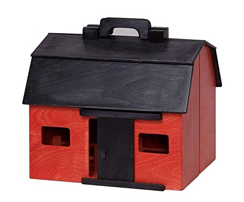 Clip Clop Folding Barn with Farm Animals USA Handmade Wooden Toy, RED