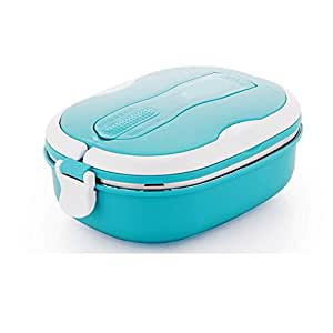 Mr.Dakai Stainless Steel Insulated Square Lunch Box for Children, Kids and Adult, Portable Picnic Storage Boxes, School Student Food Container with Spoon (Blue 1 Tier)