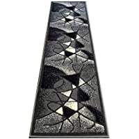 Modern Runner Rug Design # G24 Grey (2 Feet X 7 Feet)