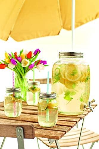 5-Litre ZELLER-PRESENT Drinks Dispenser Country Style Glass//Stainless Steel