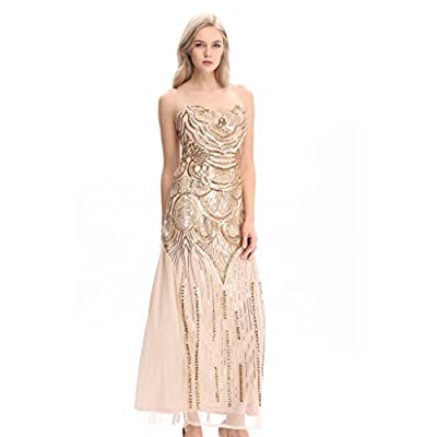 Pilot-trade 1920s Strapless Wedding Party Gown Great Gatsby Vintage Sequin Cocktail Dress Gold