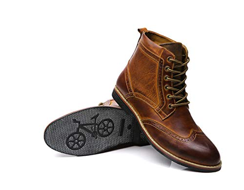 LSGEGO Men's Retro Leather Oxford Boots Lace Up Brogue Casual Moccasins Shoes for Men Dress Ankle Boots Yellow Brown, 10.5