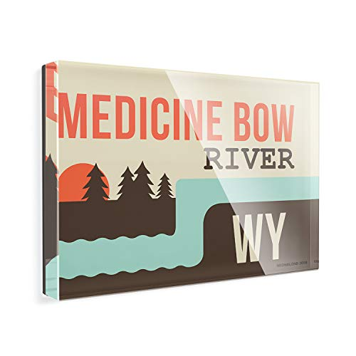 - Acrylic Fridge Magnet USA Rivers Medicine Bow River - Wyoming NEONBLOND