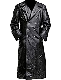 German Classic Officer Military Uniform World War 2 Black Leather Trench Coat