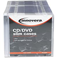 Innovera 85800 CD/DVD Polystyrene Thin Line Storage Case Clear 100/Pack