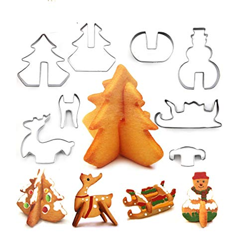 Christmas Stainless Steel 3D Cookie Cutters Set Cookies Molds – 8 piece- Christmas tree, Santa Claus, Sika deer, Skiing.