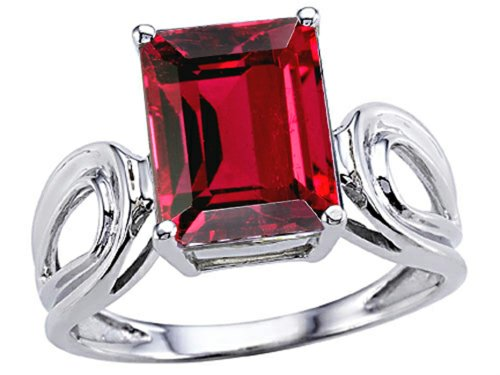 Tommaso Design Created Ruby Emerald Cut Solitaire Ring 14 kt White Gold Size (Cut Created Ruby Solitaire Ring)