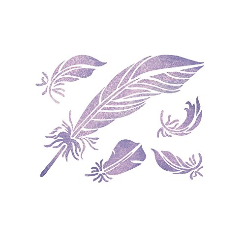 Feather Stencil (J BOUTIQUE STENCILS Feathers Stencil Reusable Stencils for DIY Home decor Craft and)