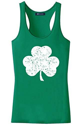 For G and PL St. Patrick's Day Women Irish Racerback Clover Green Tank Top Shamrock L (Shamrock Tank Top)