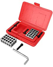Machinist Blocks Precision Gauge Blocks Matched Milling Machinist 23 Holes with Screws Wrench Case Weight 1245g for Industrial Household