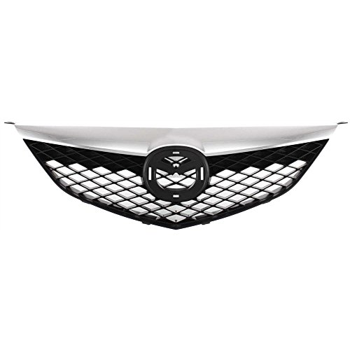Grille for Mazda 6 03-05 Painted-Black W/Chrome Upper Bar Standard Type Factory Installed