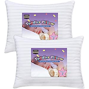 Utopia Bedding 2 Pack Toddler Pillow – Baby Pillows for Sleeping – Cotton Blend Shell with Polyester Filling – Pack of 2…