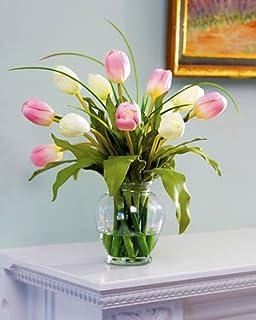 Amazon mixed tulip silk flower arrangement redyellow home mixed tulip silk flower arrangement pinkwhite mightylinksfo