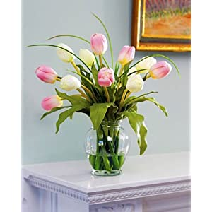 Mixed Tulip Silk Flower Arrangement - Pink/White 5