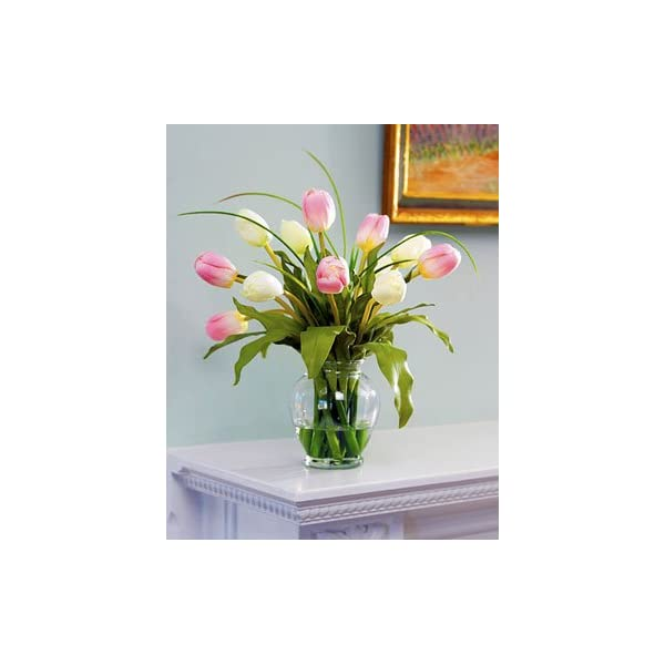 Petals – Mixed Tulip Silk Flower Arrangement – Handcrafted – Amazingly Lifelike – 12 x 12 Inches (Pink/White)