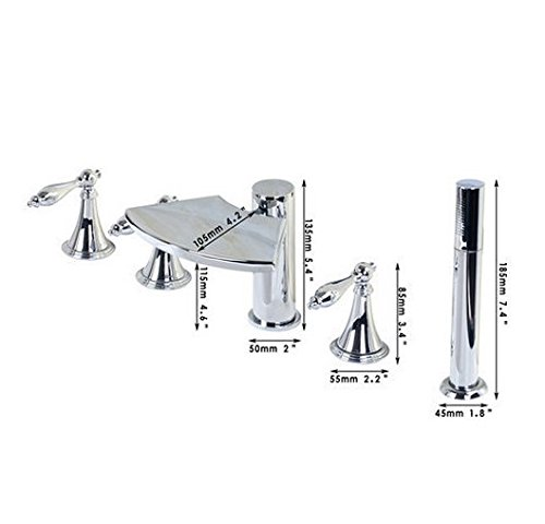 GOWE Luruxry Waterfall 5 Pieces Double Handles Chrome Deck Mount Bathroom+Handheld Basin Sink Bathtub Torneira Tap Mixer Faucet 1