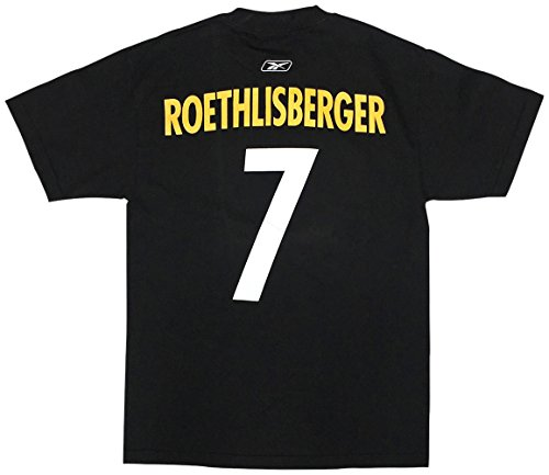 (Pittsburgh Steelers Mens Black Ben Rothlisberger Name and Number T-Shirt Small)