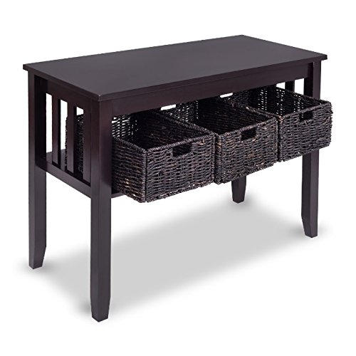 Sofa Table With Drawers Black Espresso - Entryway Storage 3 Removable Baskets Bundle w Floor Protector Pads by HLA Collection