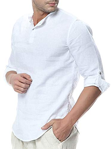 - Makkrom Mens Linen Henley Shirts 3/4 Sleeve Loose Casual Summer Solid T Shirts